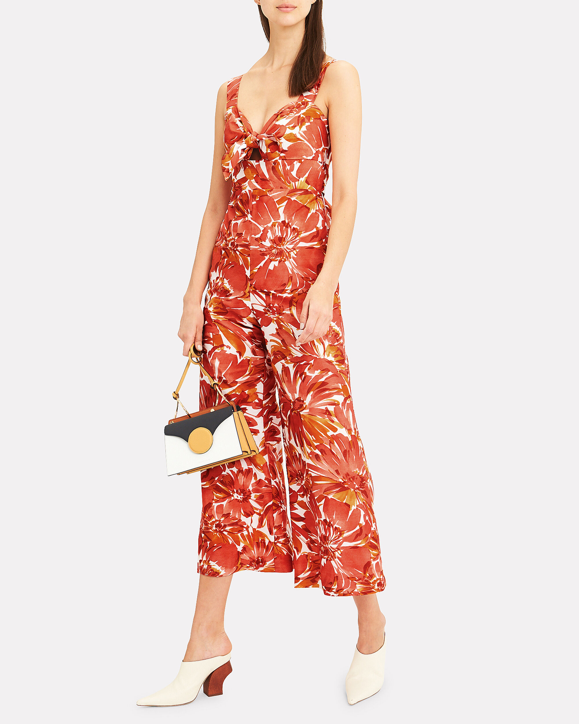 Bermusa Watercolor Jumpsuit, ORANGE/RED/WHITE, hi-res