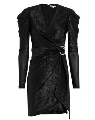 Puff Shoulder Metallic Dress, BLACK, hi-res