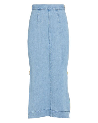 Uma Colorblock Denim Skirt, LIGHT/MEDIUM WASH DENIM, hi-res