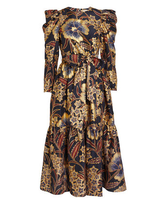 Audelia Floral Habutai Maxi Dress, MIDNIGHT/FLORAL, hi-res