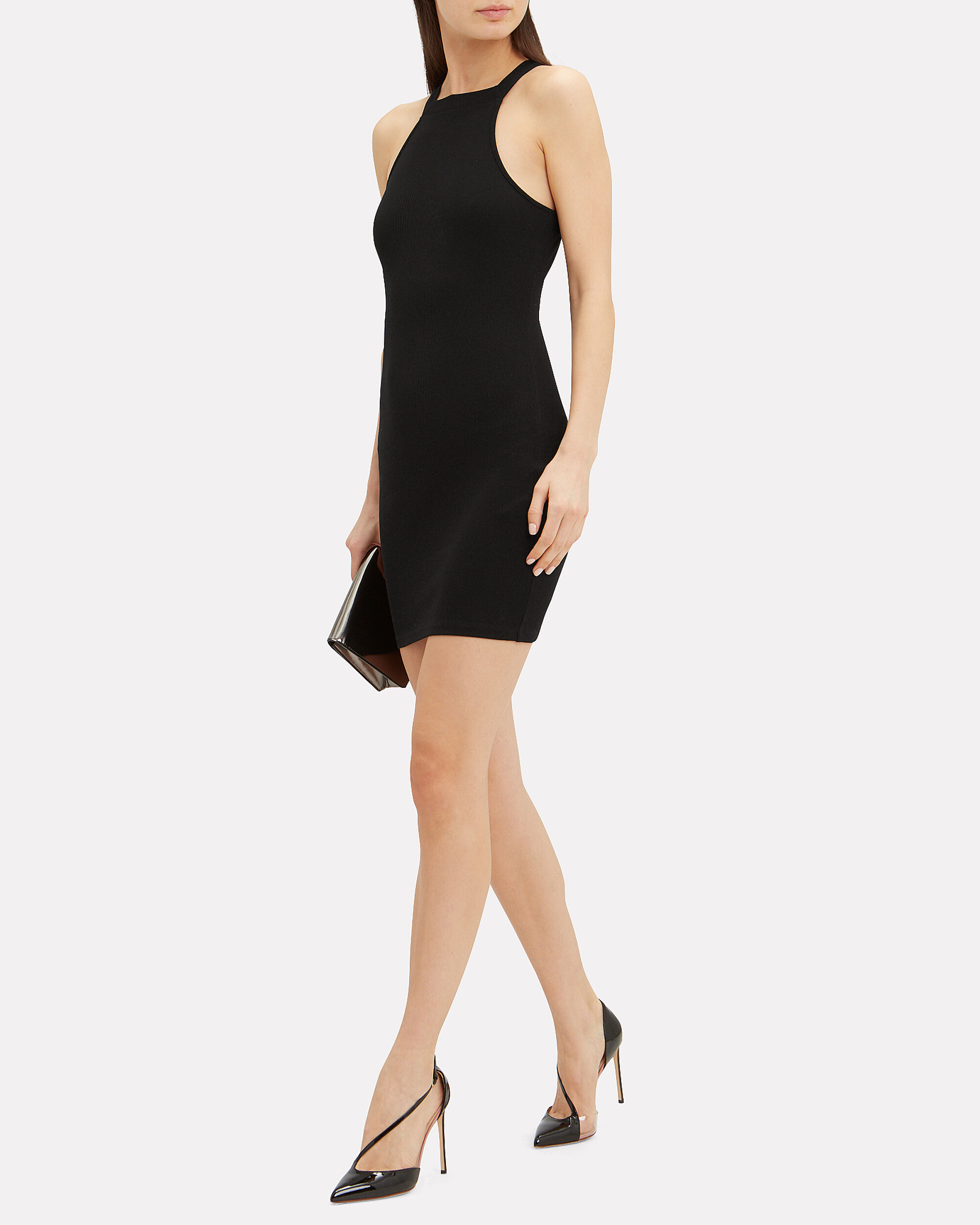 Variegated Compact Jersey Dress, BLACK, hi-res