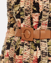 Agnes Square Buckle Leather Belt, TAN, hi-res