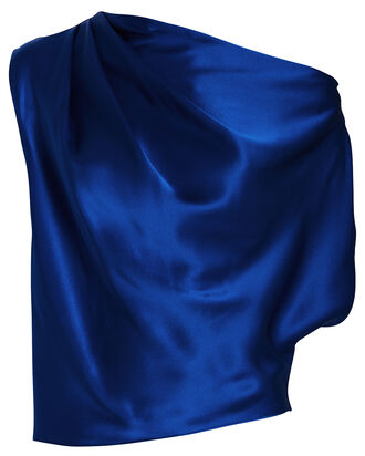 Silk Off-The-Shoulder Blouse, COBALT BLUE, hi-res