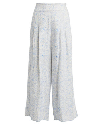 Vanilla Linen Wide Leg Pants, POWDER BLUE FLORAL, hi-res