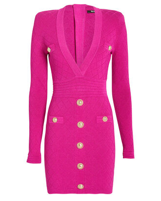 Diamond Knit Bodycon Dress, PINK, hi-res