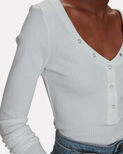 Rib Knit V-Neck Top, WHITE, hi-res