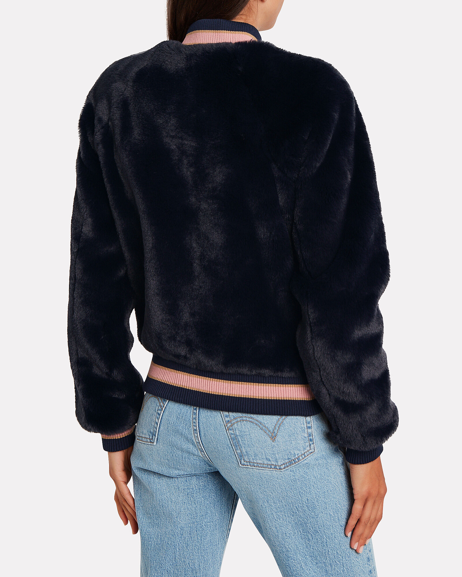 The Letterman Faux Fur Jacket, NAVY, hi-res