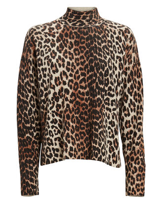 Leopard Printed Mock Neck Sweater, Leopard, hi-res