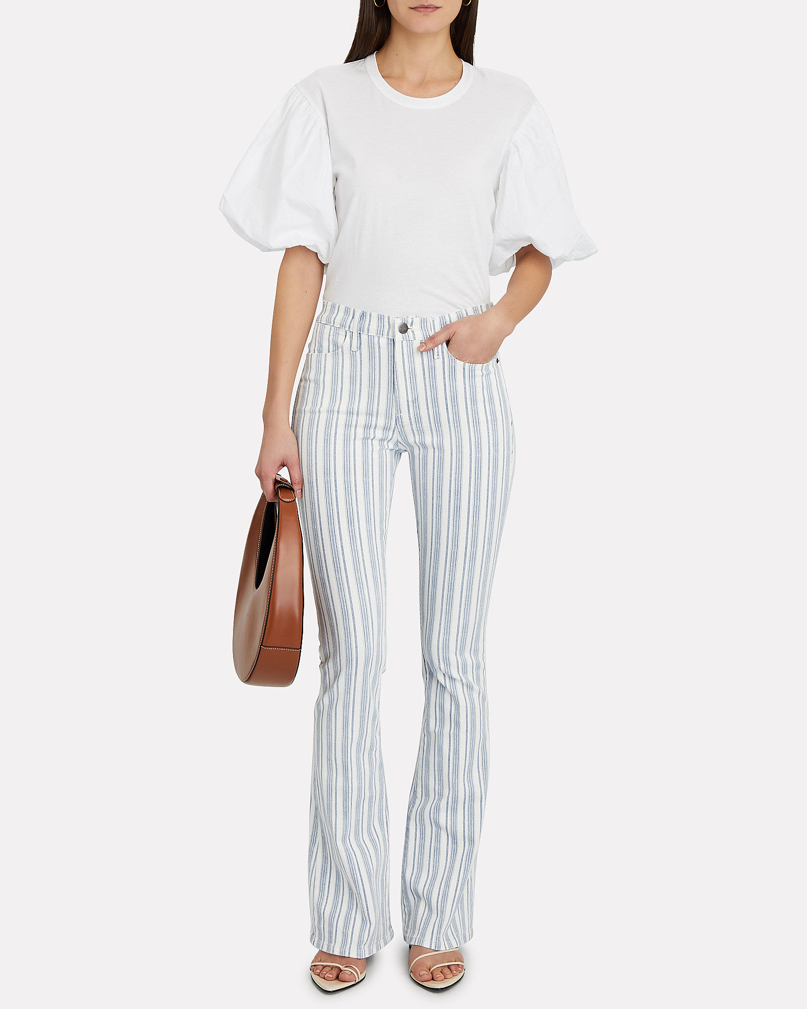 Le High Flare Striped Jeans, BLUE/IVORY, hi-res
