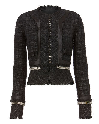 Deconstructed Tweed Jacket, BLACK, hi-res