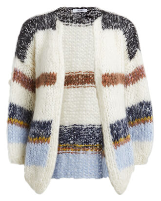 Striped Mohair-Blend Big Cardigan, HEATHER STRIPE, hi-res