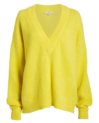 Airy Alpaca V-Neck Sweater, MUSTARD, hi-res