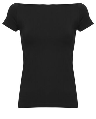 Seamless Boat Neck Top, BLACK, hi-res