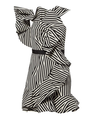 Abstract Asymmetric Striped Dress, BLK/WHT, hi-res