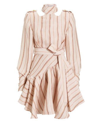 Josie Striped Silk Linen Mini Dress, BLUSH/STRIPES, hi-res