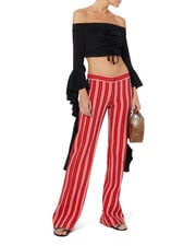 Striped Flare Trousers, RED, hi-res