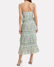 Tiered Floral Chiffon Bustier Dress, MULTI, hi-res