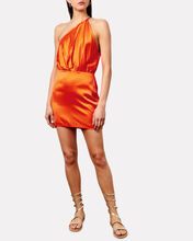 Pleated One-Shoulder Silk Dress, ORANGE, hi-res