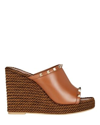Torchon Rockstud Espadrille Wedges, BROWN, hi-res