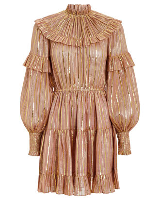 Averil Ruffled Georgette Dress, MAUVE/GOLD, hi-res