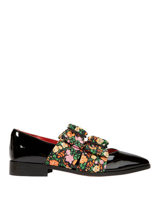 Maya Floral Flat Loafers, BLACK, hi-res