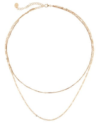 Layered Chain Necklace, GOLD, hi-res