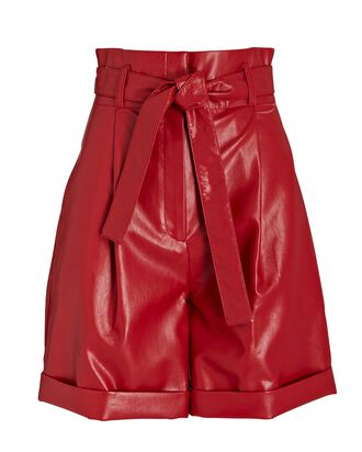 Belted Eco Faux Leather Shorts, RED, hi-res