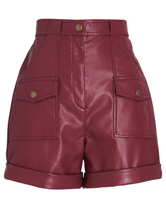 High-Rise Faux Leather Shorts, RED-DRK, hi-res