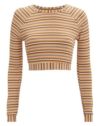 Sunny Striped Knit Sweater, Rust/marigold/white, hi-res