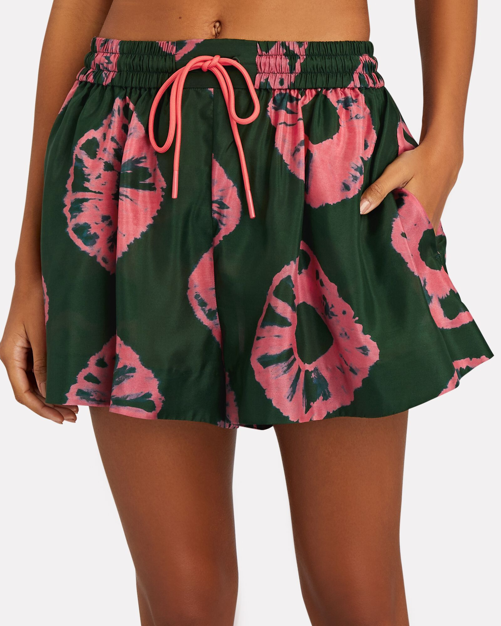 Poppy Tie-Dyed Silk Shorts, GREEN/PINK, hi-res