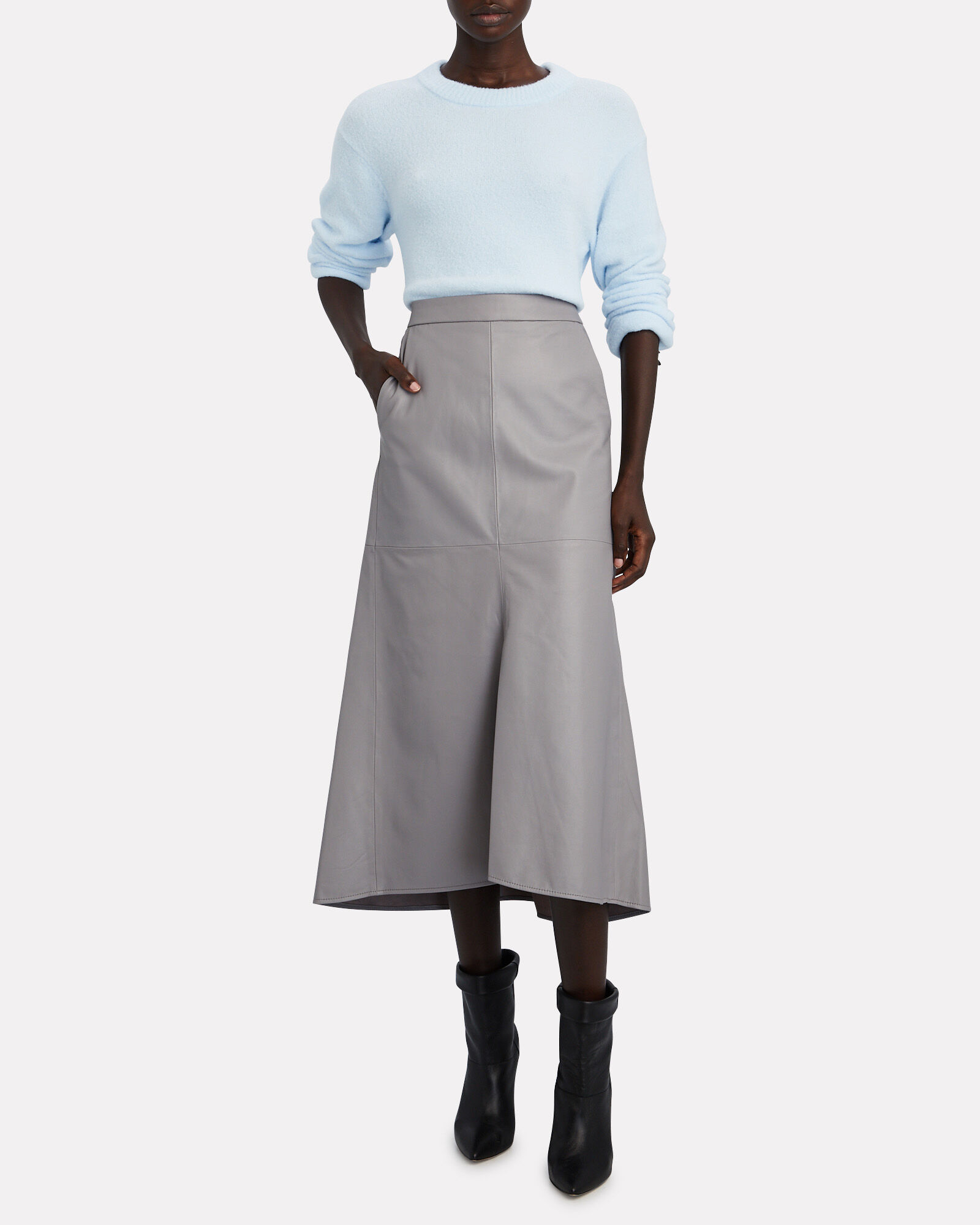 Tissue Leather Fluted Midi Skirt, GREY, hi-res