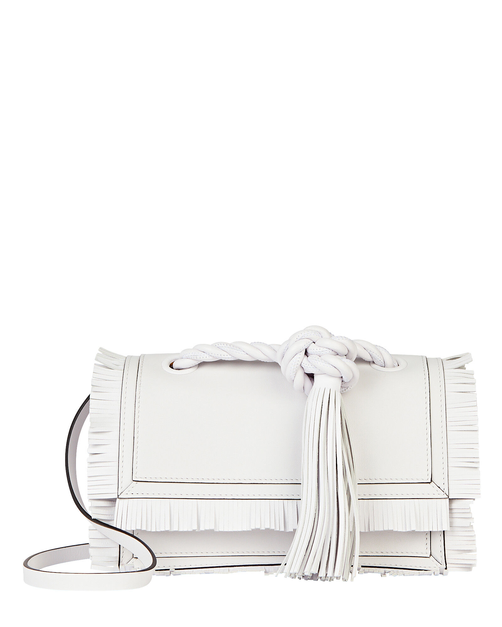 The Rope Fringe Calfskin Bag, WHITE, hi-res