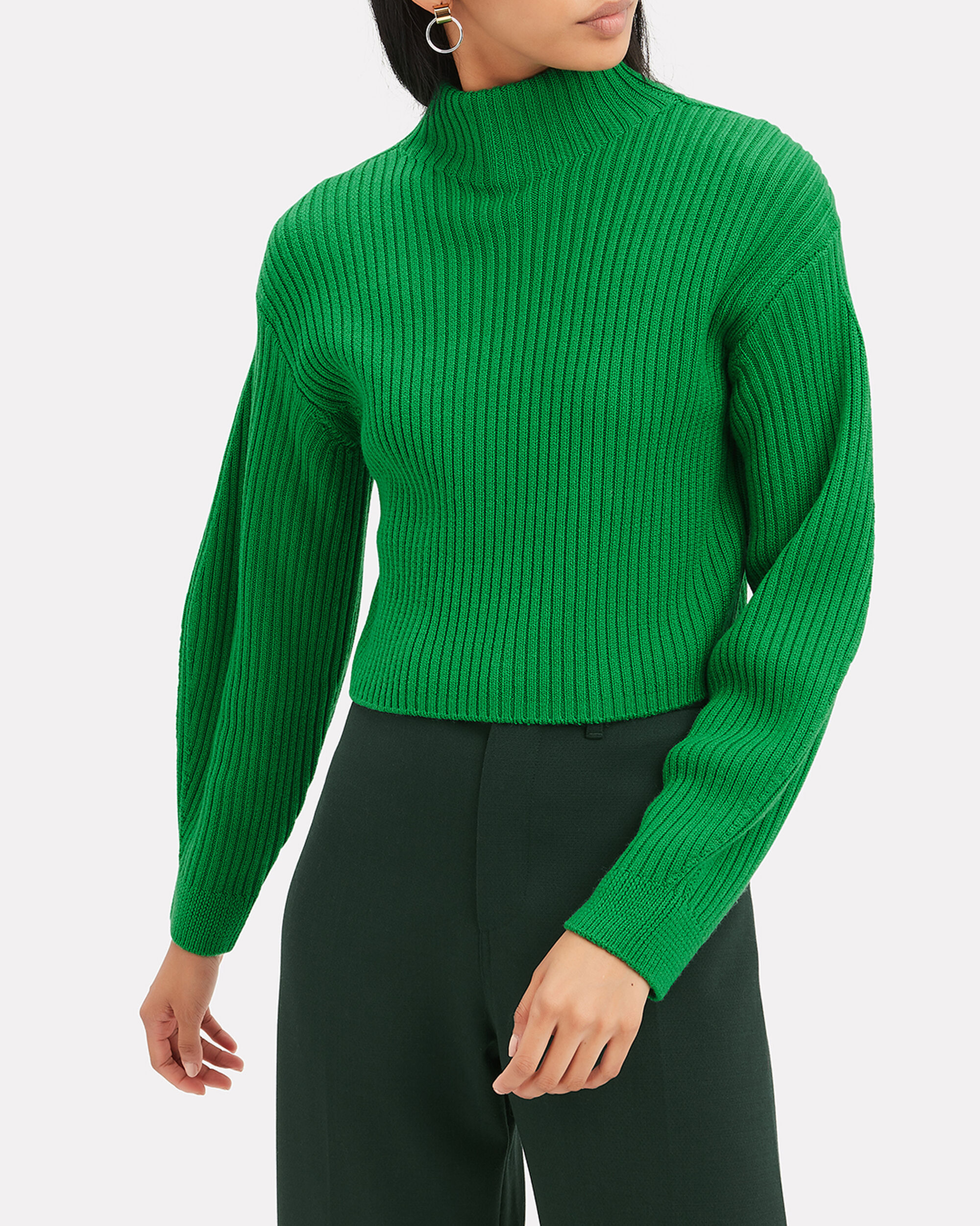 Structured Green Ribbed Pullover, GREEN, hi-res