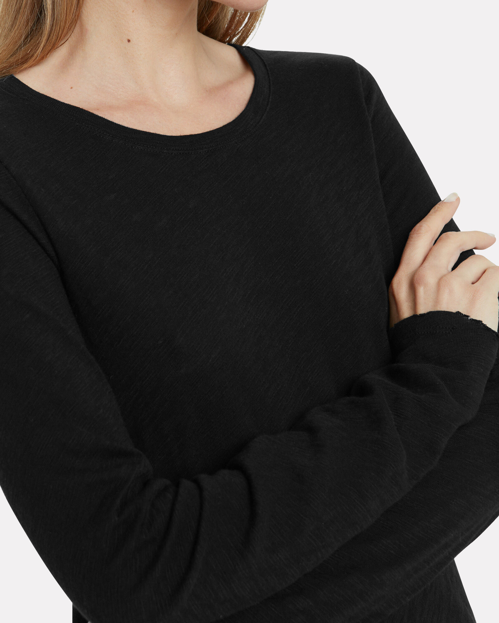 Slub Long Sleeve T-Shirt, BLACK, hi-res