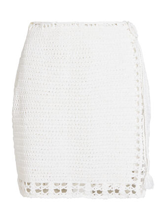 Summer Crochet Mini Wrap Skirt, WHITE, hi-res