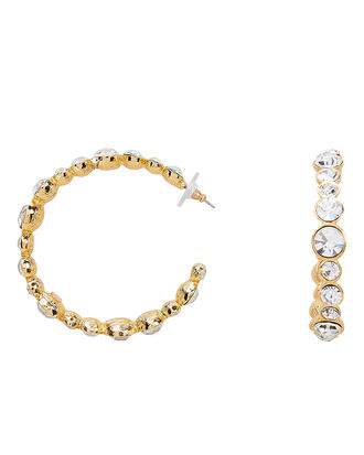 Crystal-Embellished Open Hoops, CRYSTAL, hi-res