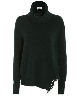 Fringe Overlap Turtleneck Sweater, GREEN, hi-res