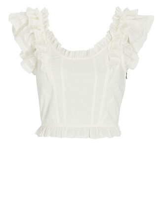 Leona Corset-Back Crop Top, WHITE, hi-res