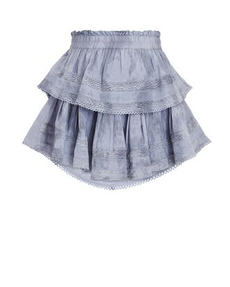 Ruffled Lace-Trim Cotton Skirt, BLUE, hi-res