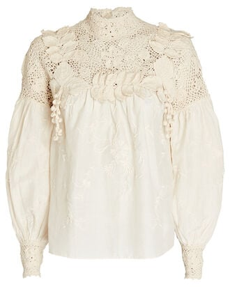 Theodora Crochet-Trimmed Blouse, IVORY, hi-res