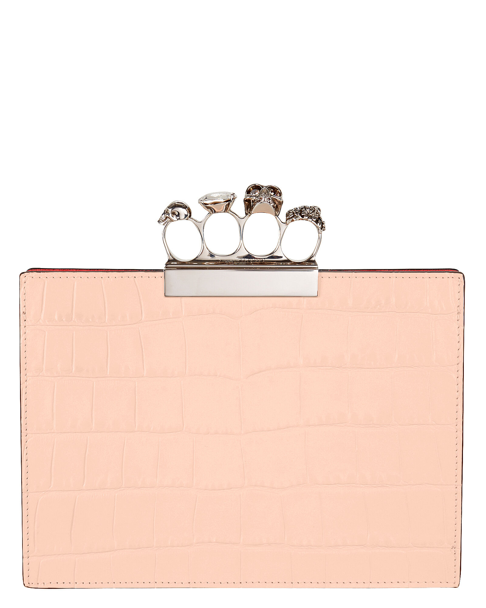 Skull Four Ring Flat Blush Pouch, PINK, hi-res