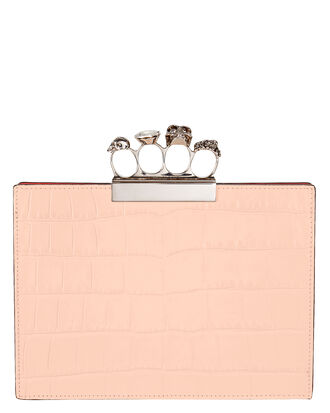 Skull Four Ring Flat Blush Pouch, BLUSH/WHITE, hi-res