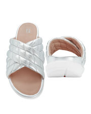 Loosh Luxe Diamond-Quilted Sandals, SILVER, hi-res