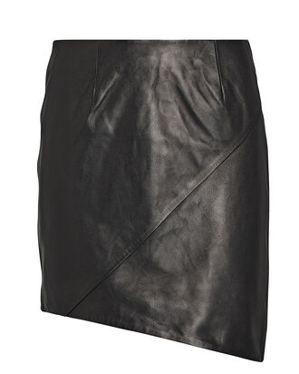 Hemy Leather Mini Skirt, BLACK, hi-res