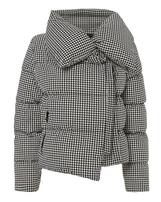 Houndstooth Puffer Jacket, BLACK/WHITE, hi-res