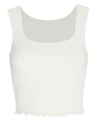 Cropped Thermal Knit Tank, IVORY, hi-res