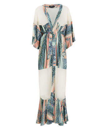 Sunset Stripe Mesh Maxi Beach Robe, SUNSET STRIPE, hi-res