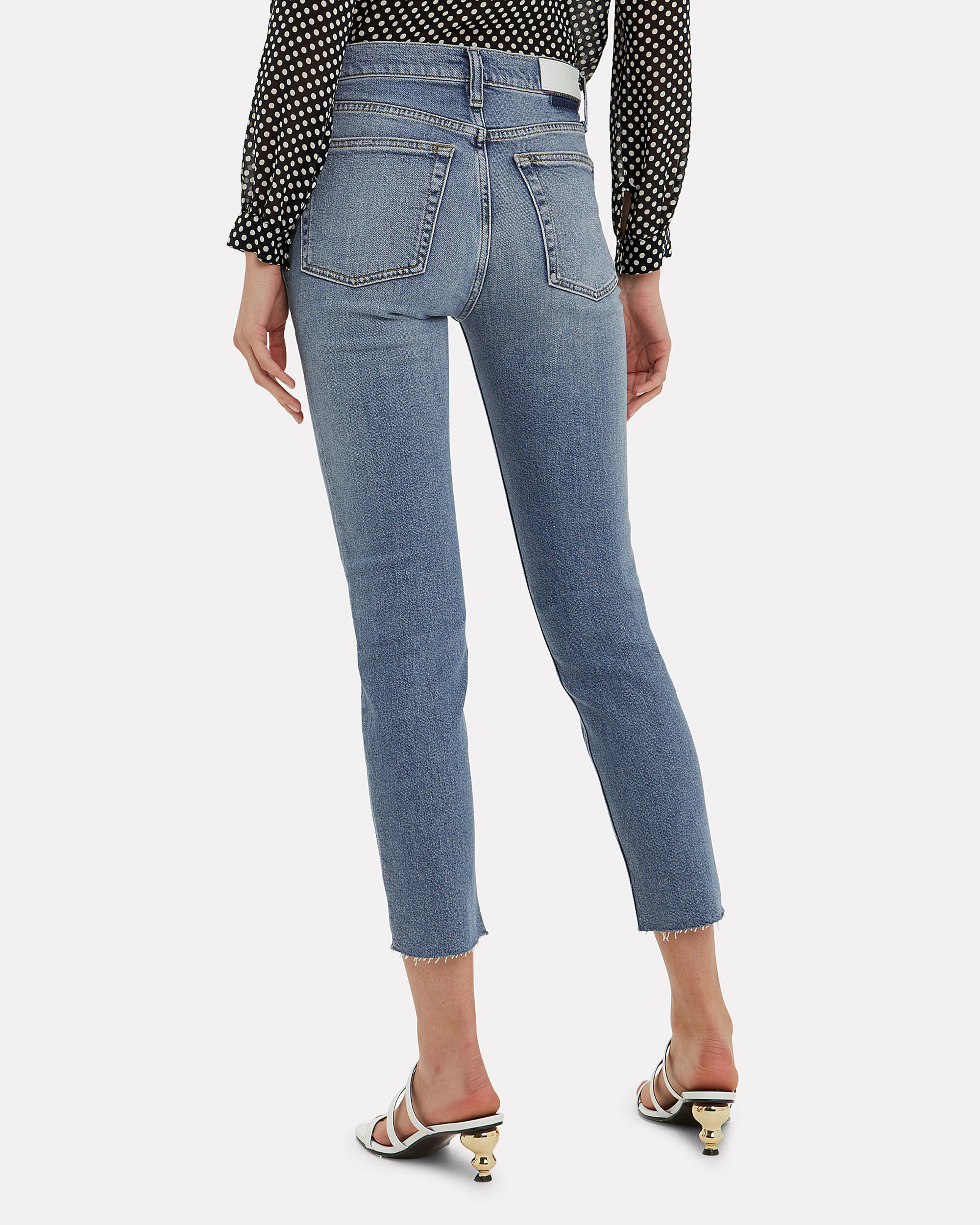 Comfort Stretch Raw Hem Ankle Crop Jeans, LIGHT BLUE DENIM, hi-res