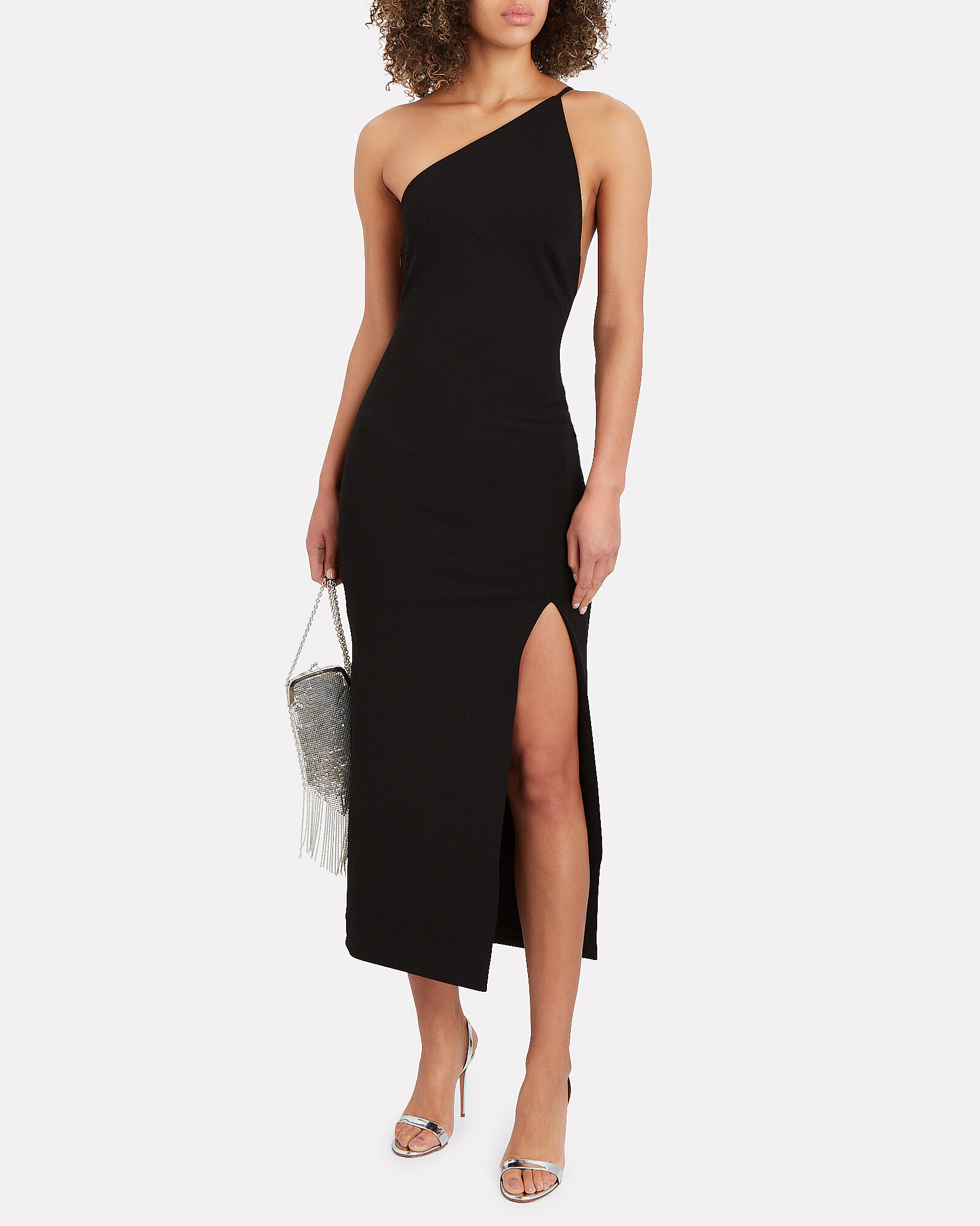 Natalya One-Shoulder Midi Dress, BLACK, hi-res