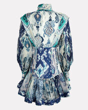 Glassy Balloon Sleeve Printed Mini Dress, BLUE/WHITE, hi-res